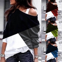Sexy Off-shoulder Long Sleeve Contrast Color Sweatshirt