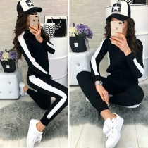 Fashion Contrast Color Stand Collar Sweatshirt Coat + Pants Sports Suit