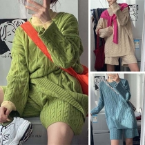Fashion Solid Color Round Neck Sweater + Shorts Two-piece Set