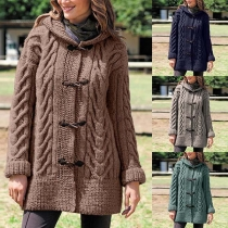 Fashion Solid Color Long Sleeve Hooded Horn Button Sweater Coat