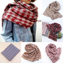 Fashion Tassel Hem Plaid Scarf