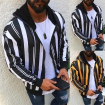Fashion Long Sleevfe Hooded Man's Striped Coat