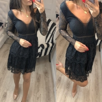 Sexy V-neck Long Sleeve High Waist Slim Fit Lace Dress(It falls small)