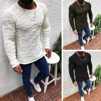Fashion Solid Color Long Sleeve Round Neck Slim Fit Man's Sweater(the Size run small)