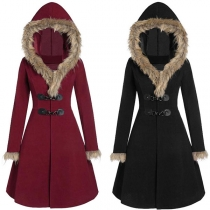 Fashion Faux Fur Spliced Hooded Horn Button Coat