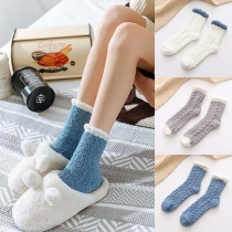 Fashion Contrast Color Plush Socks  2 pairs/set