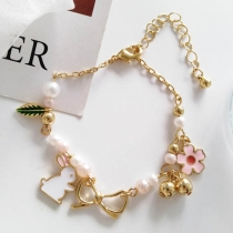 Cute Style Rabbit Flower Pendant Bracelet