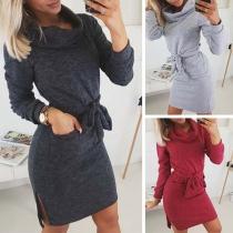 Fashion Solid Color Long Sleeve Turtleneck Slit Hem Slim Fit Dress