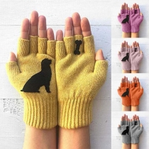 Cute Style Cartoon Puppy Pattern Knit Gloves