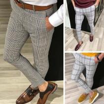 Fashion Middle Waist Man's Plaid Pants