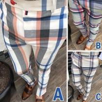 Fashion Contrast Color Plaid Pants for Man