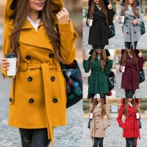 Fashion Solid Color Hooded Double-breasted Woolen Coat