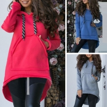 Fashion Solid Color Long Sleeve High-low Hem Hooded Sweatshirt