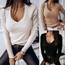 Fashion Solid Color Long Sleeve V-neck T-shirt