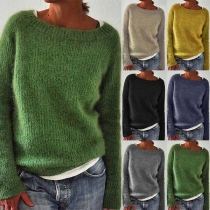 Simple Style Long Sleeve Round Neck Solid Color Sweater