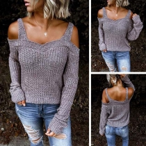 Sexy Off-shoulder Long Sleeve Solid Color Sling Sweater
