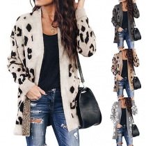 Fashion Leopard Printed Long Sleeve Loose Knit Cardigan