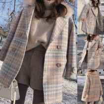 Fashion Faux Fur Spliced Collar Double-breasted Plaid Woolen Coat