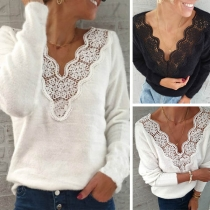 Sexy Lace Spliced V-neck Long Sleeve Solid Color Top