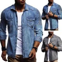 Retro Style Long Sleeve POLO Collar Man's Denim Shirt