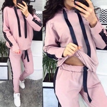 Fashion Gauze Spliced Long Sleeve Hooded Sweatshirt + Pants Sports Suit