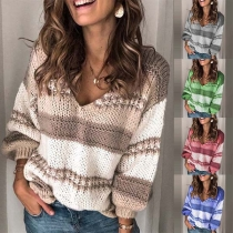 Fashion Long Sleeve V-neck Striped Loose Sweater