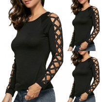 Sexy Rhinestone Spliced Hollow Out Long Sleeve T-shirt