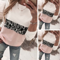 Fashion Contrast Color Sequin Spliced Long Sleeve Round Neck Sweatshirt