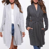 Fashion Solid Color Long Sleeve Cardigan