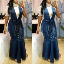 Sexy Backless Deep V-neck High Waist Fishtail Hem Denim Suspender Skirt