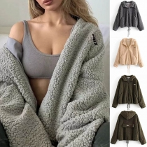 Fashion Solid Color Long Sleeve Hooded Faux Cashmere Coat