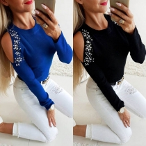 Sexy Off-shoulder Long Sleeve Round Neck Rhinestone Spliced T-shirt