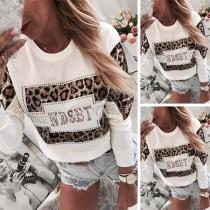 Fashion Rhinestone Spliced Long Sleeve Round Neck Leopard Printed Sweatshirt