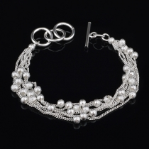Fashion Silver-tone Beaded Bracelet