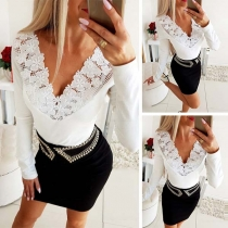 Sexy Lace Spliced Deep V-neck Long Sleeve Solid Color T-shirt
