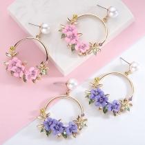 Sweet Style Wreath Shaped Stud Earrings