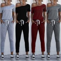 Sexy Oblique Shoulder Short Sleeve High Waist Solid Color Jumpsuit