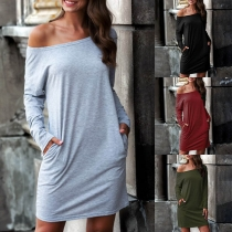 Simple Style Long Sleeve Round Neck Solid Color T-shirt Dress