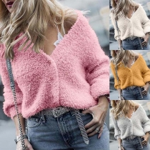 Fahsion Solid Color Long Sleeve V-neck Plush Cardigan