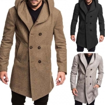Fashion Solid Color Double-breasted Hooded Man's Woolen Coat(The size falls small)