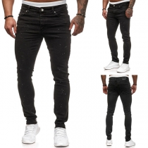 Fashion Middle Waist Relaxed-fit Man's Jeans