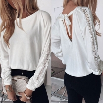 Sexy Backless Lace Spliced Long Sleeve Round Neck Sweatshirt