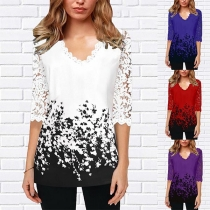 Fashion Lace Spliced Half Sleeve V-neck Printed Top