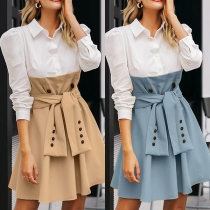 Fashion Contrast Color Long Sleeve POLO Collar Lace-up Shirt Dress
