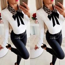 Fashion Leopard Spliced Bow-knot Collar Long Sleeve T-shirt