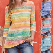 Fashion 3/4 Sleeve Round Neck Colorful Striped T-shirt