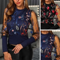 Sexy Gauze Spliced Long Sleeve Round Neck Embroidered Top