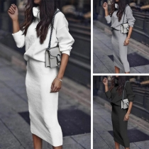 Fashion Solid Color Turtleneck Knit Top + Skirt Two-piece Set