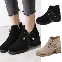 Fashion Thick Heel Round Toe Bow-knot Ankle Boots