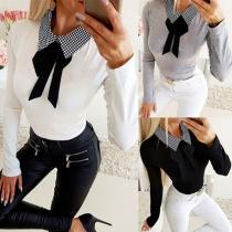 Fashion Plaid Spliced Bow-knot POLO Collar Long Sleeve Top